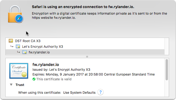 Valid certificate chain